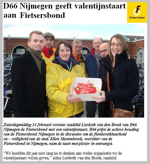 Artikel met foto Valentijnstaart voor Fietsersbond