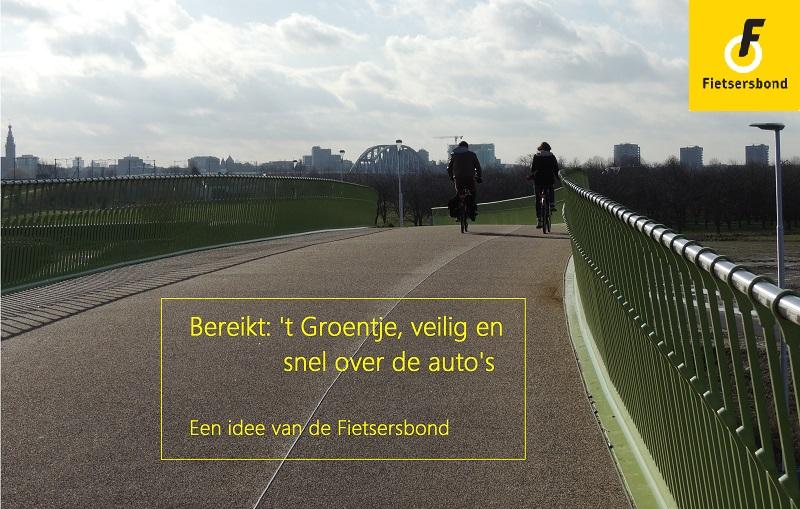 Fietsviaduct 't Groentje van boven met zicht op Nijmegen-Centrum