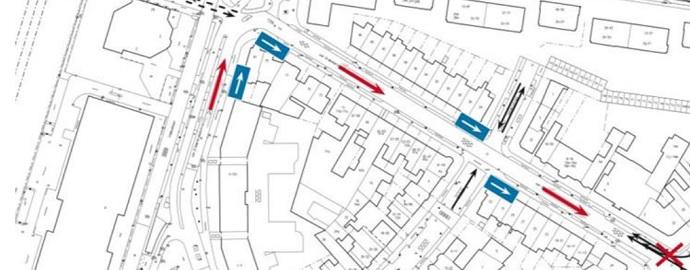 plattegrond met verkeersrichtingen
