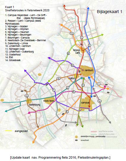 Kaart met snelfietsroutes in 2020 met daarbij aanpassingen 2015 aangegeven