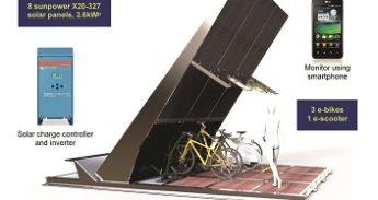 Eerste draadloos laadstation op zonne-energie voor elektrische fiets