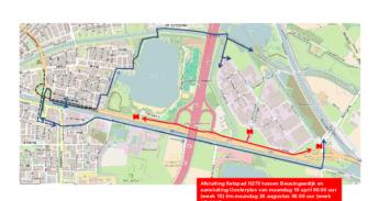 Afsluiting fietspad N279 tussen Beusingsedijk en aansluiting Oosterplas
