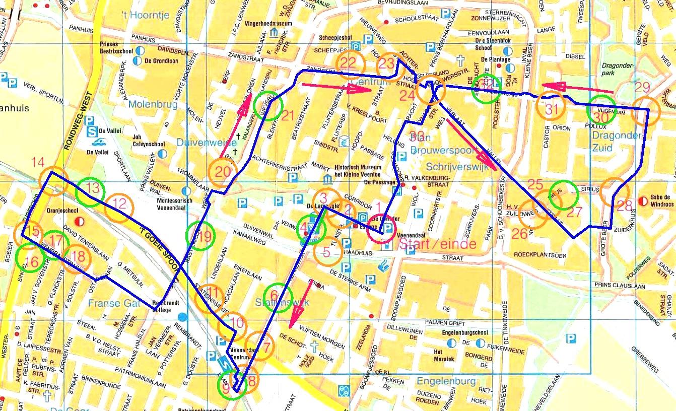 routekaart fietsrondje raadsleden