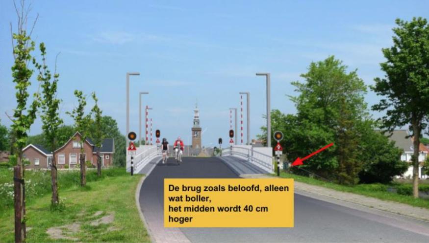 De brug zoals die op de informatieavond was beloofd