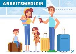 Illustration, Familie mit Koffern, Flughafen