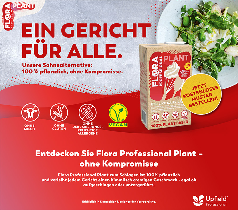 Entdecken Sie Flora Professional Plant - Unsere Sahnelaternative: 100% pflanzlich, ohne Kompromisse.