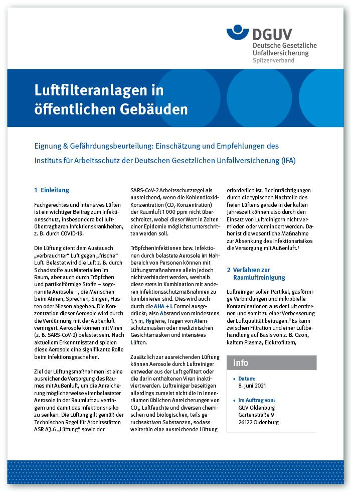 """Information """"Luftfilteranlagen in öffentlichen Gebäuden"""""""