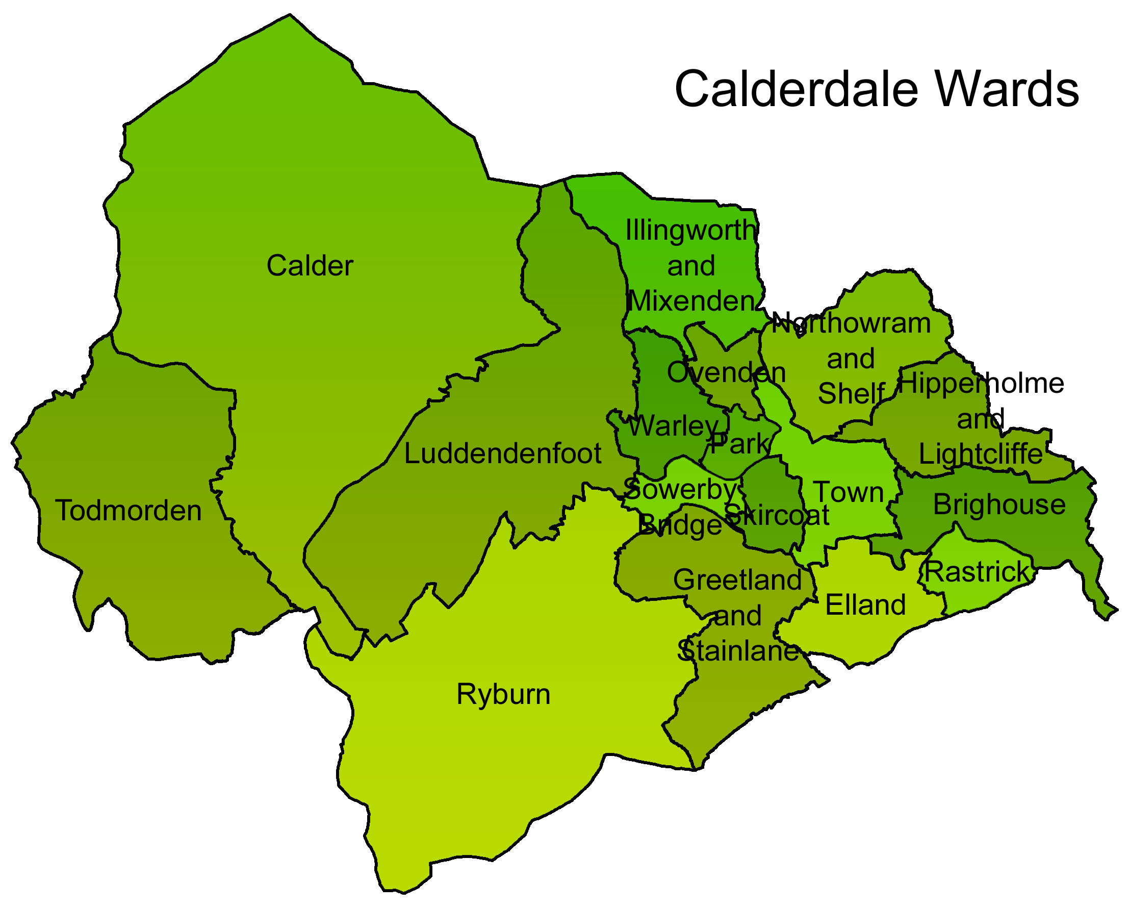 Map of Calderdale wards