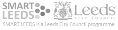 Smart Leeds and Leeds City Council logos. Smart Leeds is a Leeds City Council programme
