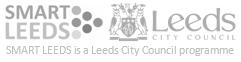 Smart Leeds and Leeds City Council logos. Smart Leeds is a Leeds City Council programme