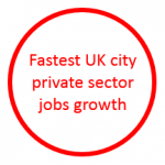 Image stating that Leeds has the fastest UK private sector jobs growth