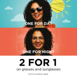 2 for 1 on Glasses & Sunglasses