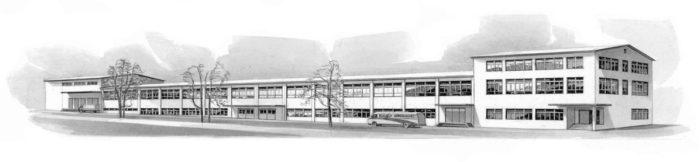 Geschichte 1954 Strichzeichnung Gebäude