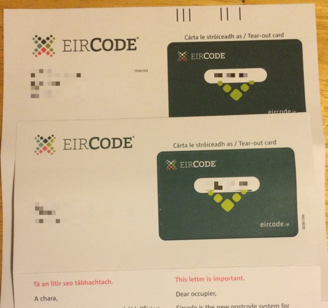 A photo of two eircode letters to the same address.
