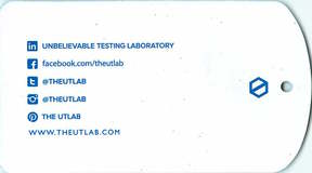 A photo of an UT Lab tag