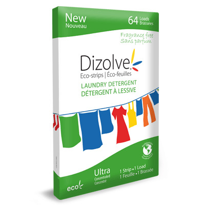A photo of the Dizolve fragrance free laundry detergent package.