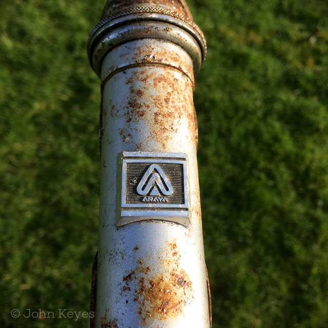A photo of the array badge on the head tube before any cleanup has been done.
