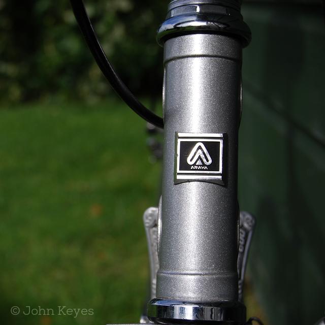 A photo of the shiny Araya badge on the head tube.