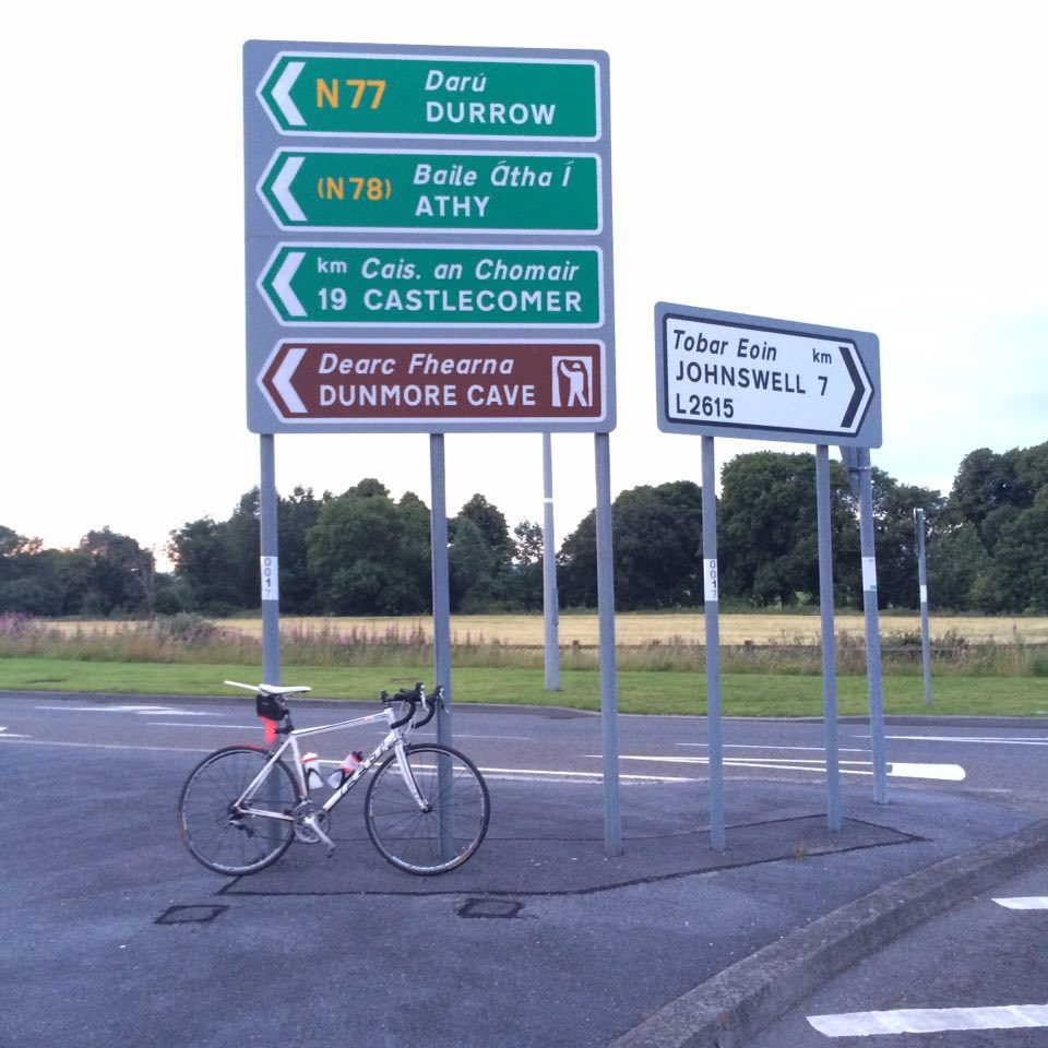 John's bike back the road signs on the Johnswell Road Roundabout