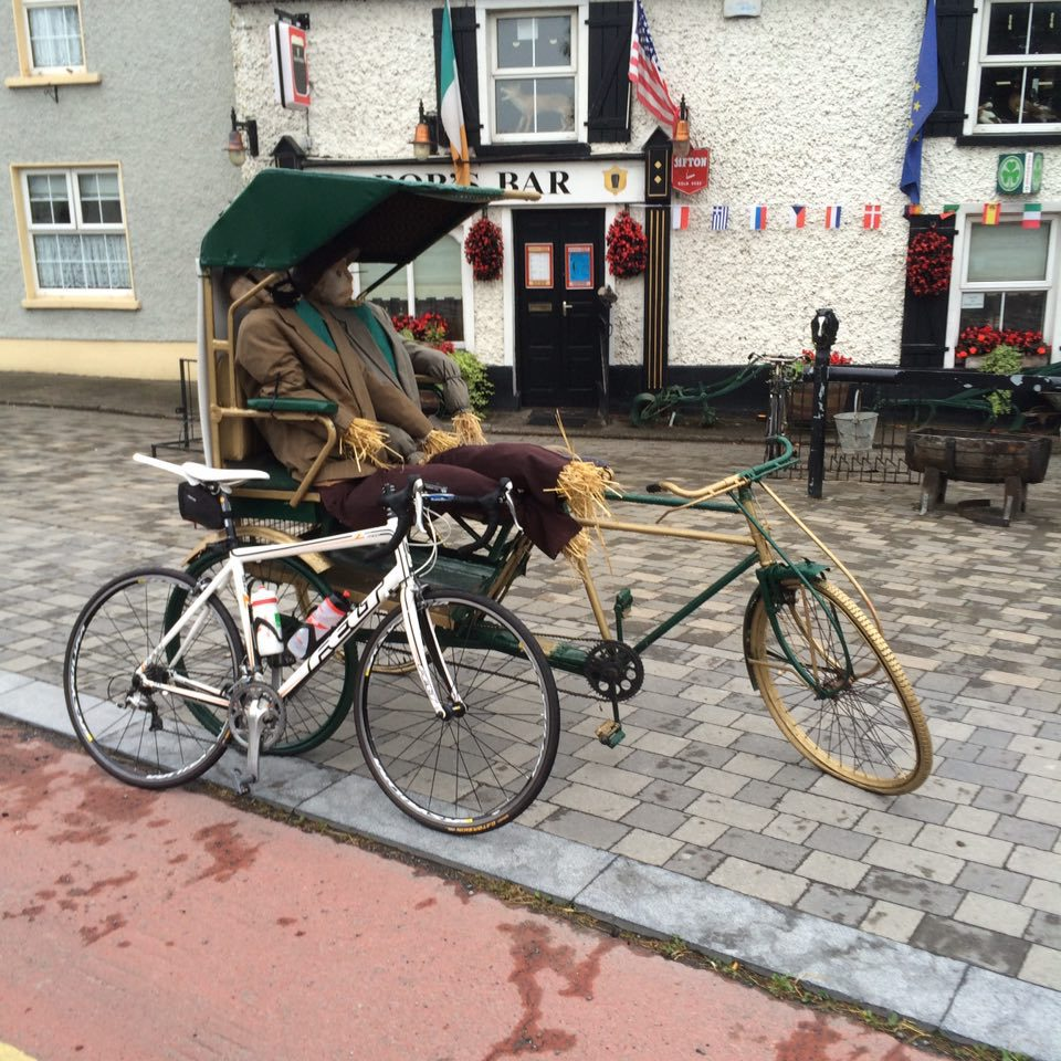 Two dummies in a bike drawn carriage in Durrow.