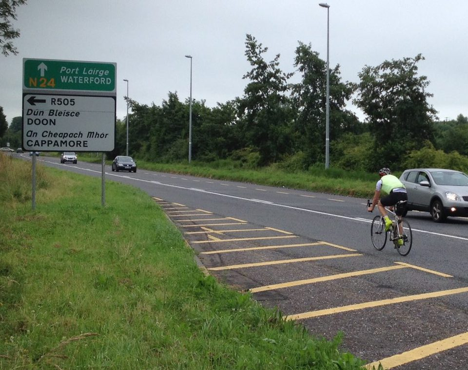 John cycling on the N24 just before the turn off for Cappamore