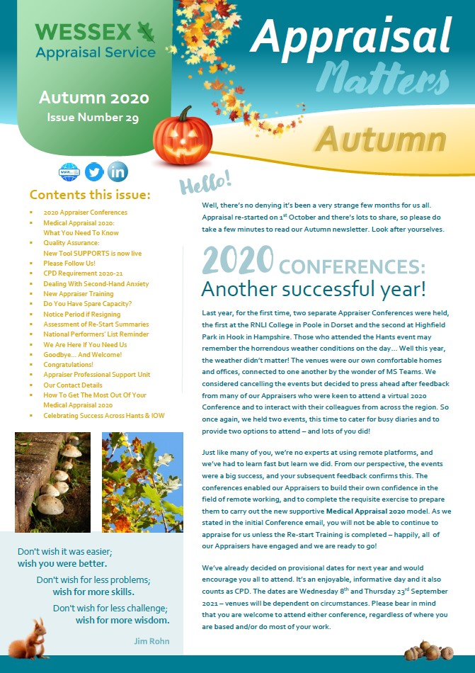 Appraiser Newsletter Autumn 2020