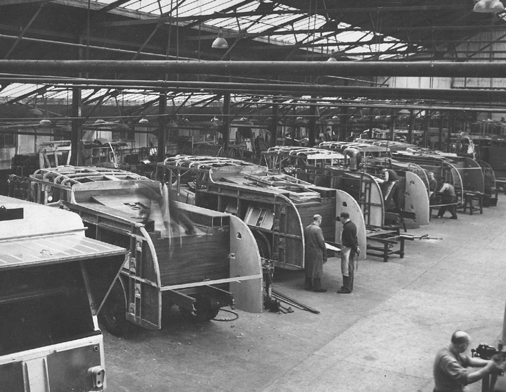 Inside the Dennis body shop in the 1960's