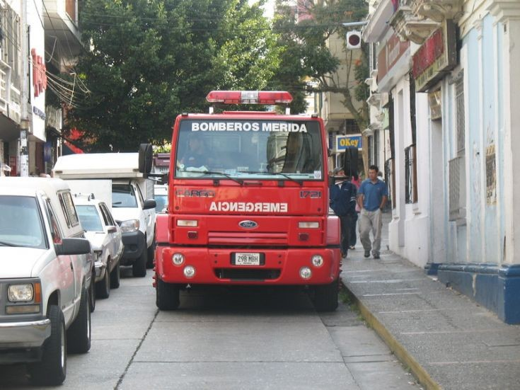 Fire Truck in street of de merida city