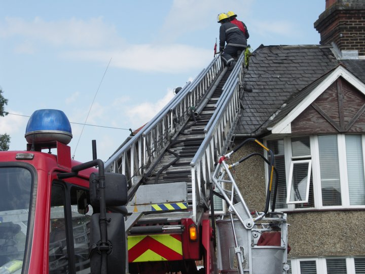 Image of Suffolk fire fighters at work at a fire