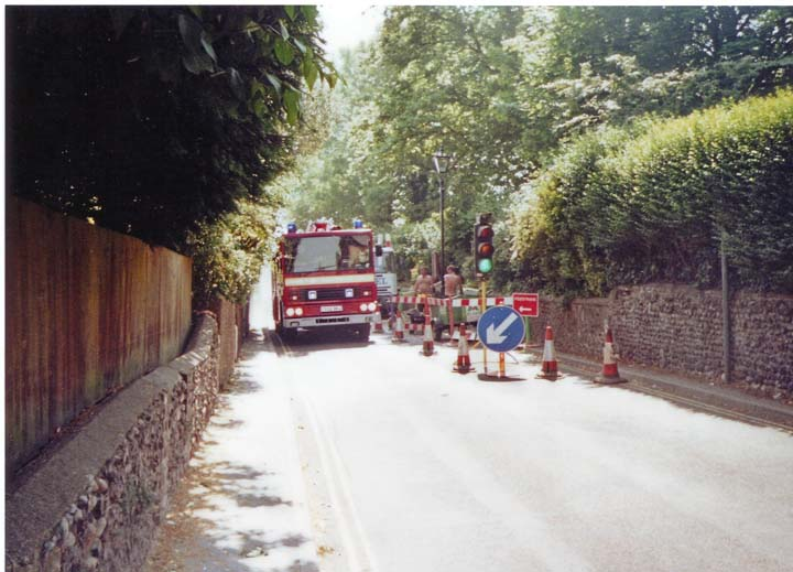 Dennis fire engine Kent out on a shout