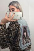 Portrait back Leopard Contrast Denim Jacket
