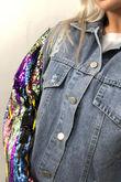 Multi Sequin Detail Denim Jacket
