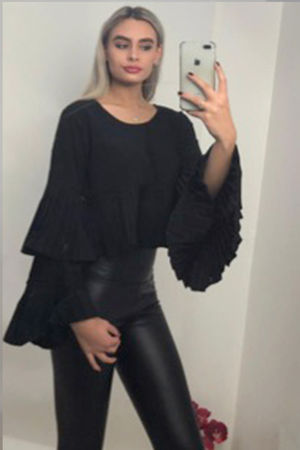 Tulip Sleeve Pleated Crop Blouse