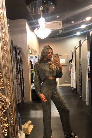 Marl Grey Crop Lounge Suit