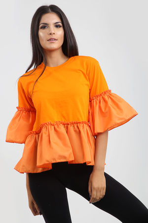 Frill Hem And Sleeve Top