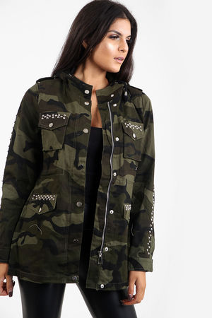 Army Print Silver Studded Festival Jacket