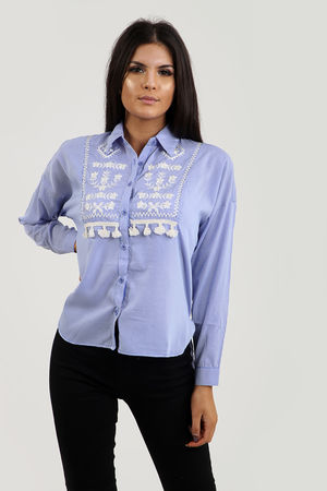 Embroidered Tastle Low Back Shirt