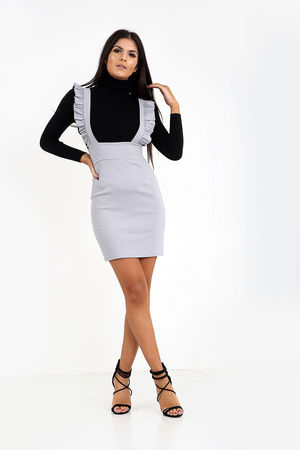 Frill Shoulder Pinafore Dress