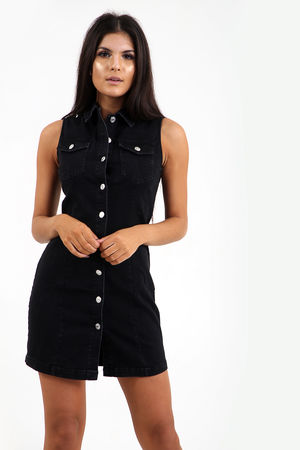 Longline Denim Button Through Dress