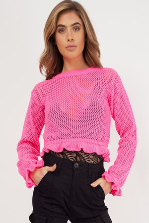KNITTED CROCHET FRILL CROP TOP