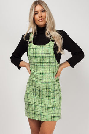 Tweed Strap Pinafore Dress