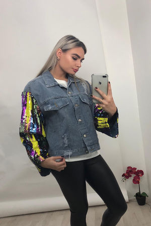 Multi Sequin Detail Denim Jacket