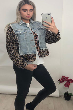 Portrait back Leopard Contrast Denim Jacket