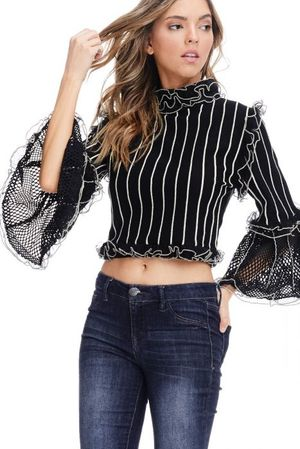 Victorian Style High Neck Crop Top
