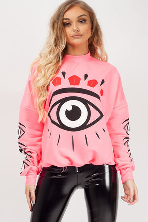 Graphic Eyes Printed Sweatshirt
