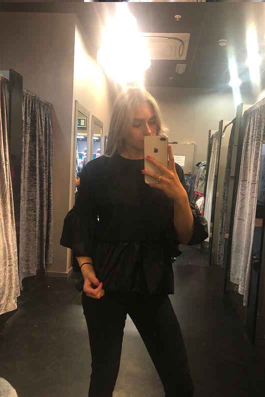 Zara Frill Hem And Sleeve Top