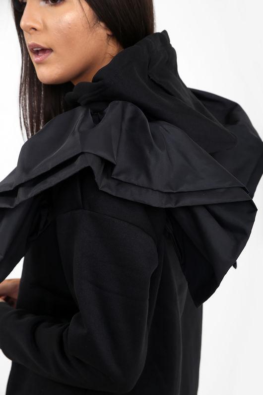 Frill Shoulder Hoodie -Copy