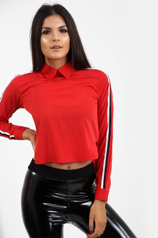 Multi Stripe Shoulder Crop Shirt