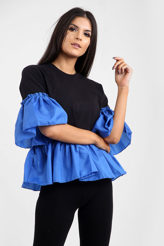 Zara Frill Hem And Sleeve Top