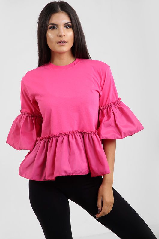 Zara FrillHem And Sleeve Top